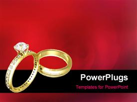 PowerPoint template displaying two Beautiful wedding rings on a blurred flowery background