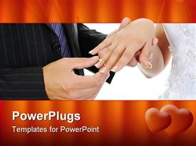 PowerPoint template displaying wedding theme with groom putting ring on bride's finger, red heart border