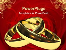 PowerPoint template displaying two linked gold wedding rings on a red background