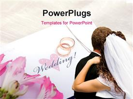 PowerPoint template displaying a newly weded couple with a pair of wedding rings