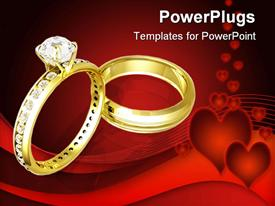 PowerPoint template displaying golden wedding rinds with diamonds on heart red background