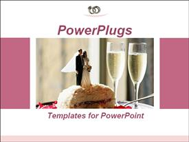 PowerPoint template displaying wedding cake with two glasses of champagne. Ideal template for presentation on wedding services in the background.