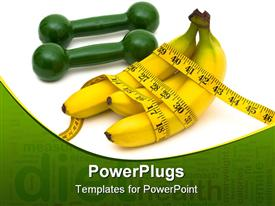 PowerPoint template displaying yellow bunch of banana wrapped with a measuring tape beside a dumbell