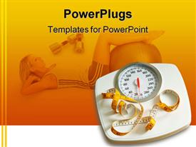 PowerPoint template displaying bathroom scale and measuring tape in yellow background with woman working out