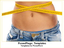 Girl measuring waist with measuring tape powerpoint theme