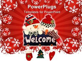 PowerPoint template displaying christmas theme two snowmen holding welcome sign pillow Christmas tree heart Santa glove, red decorations with white snowflakes