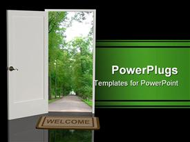 PowerPoint template displaying a white open door with a foot mat having the text