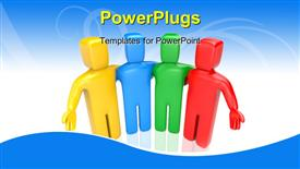 PowerPoint template displaying colorful 3D men displays teamwork on abstract blue background