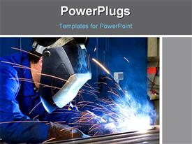 PowerPoint template displaying a person welding the rods with bluish background