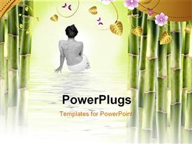 PowerPoint template displaying a woman after spa with a number of leaves