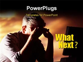 Worker feeling stressful, pain, headache, under pressure powerpoint design layout
