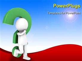 PowerPoint template displaying a 3D character leaning on a question mark symbol