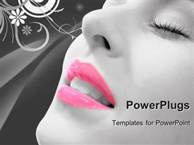PowerPoint template displaying floral background with close-up of woman with eyes closed and pink lipstick