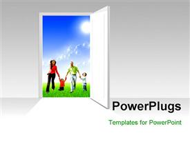 PowerPoint template displaying a door opened with a family in the background
