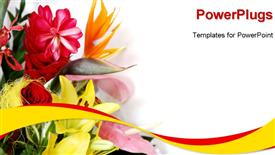 PowerPoint template displaying a close up view of lots of flowers over a white background