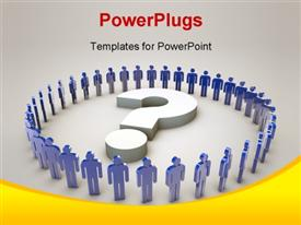 PowerPoint template displaying blue 3D people form circle round 3D question mark symbol