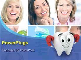 PowerPoint template displaying collage of smiling women with healthy tooth in background and cartoon character as teeth in the foreground