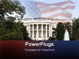 PowerPoint template displaying depiction of White House with trees and fountain and United States flag waving fading in the background