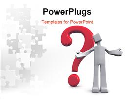 PowerPoint template displaying man acting confusion with a question mark behind 3D depiction