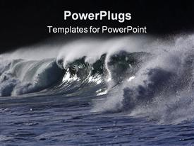 PowerPoint template displaying ocean water with big waves spreading water sprays with black background
