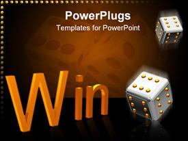 PowerPoint template displaying two playing cubes on which all sides on six spots. They fall beside