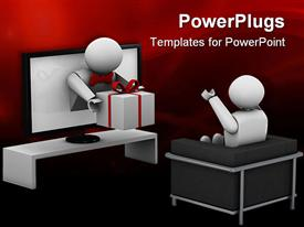 PowerPoint template displaying animated human figure receiving a gift from a television