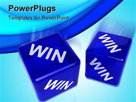 PowerPoint template displaying two blue semi-transparent dice with the word WIN on them
