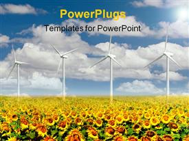 Field with dense sunflowers and clouds powerpoint template