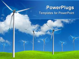 PowerPoint template displaying wind farm turbines to produce electricity in green field