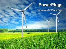 PowerPoint template displaying wind Mill landscape wind turbines blue sky in the background.