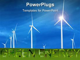 PowerPoint template displaying white wind turbines in huge green field under blue sky
