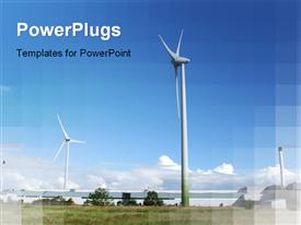 PowerPoint template displaying lot windmills greenery background