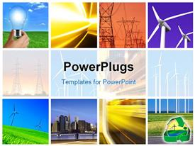 PowerPoint template displaying collage of electric power and innovative energy industry in the background.