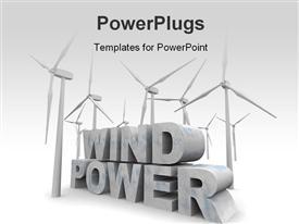 PowerPoint template displaying the words Wind Power surrounded by windmill turbines in the background.