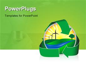 PowerPoint template displaying wind power in a healthy environment