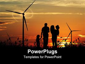 PowerPoint template displaying sun set view of a family of four walking in between wind turbines
