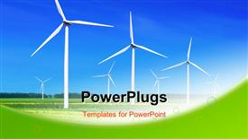 PowerPoint template displaying green meadow with Wind turbines generating electricity