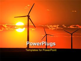 Three wind turbines silhouetted by a setting sun powerpoint design layout