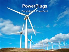 PowerPoint template displaying white wind turbines in field with blue cloudy sky