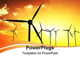 PowerPoint template displaying wind farm turbines with orange sunrise