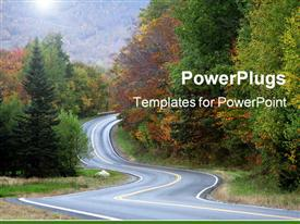 PowerPoint template displaying rural road winds through the Vermont countryside during autumn