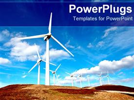 PowerPoint template displaying huge windmills out on plain