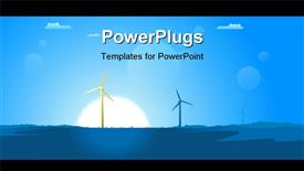 PowerPoint template displaying spring or summer windmills in a blue atmosphere with sun and grass in the foreground in the background.