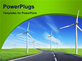 PowerPoint template displaying windmills field with road in the background.