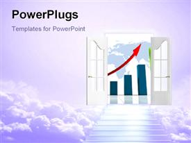 PowerPoint template displaying stair to open door of financial profit with upward red arrow