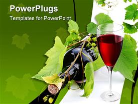PowerPoint template displaying bottle of wine glass of wine and vine with green little grapes on white and green background