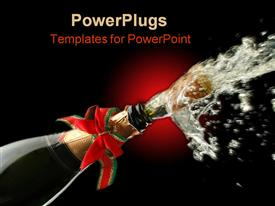 PowerPoint template displaying champagne splash. bottle and cork with Christmas decoration in the background.