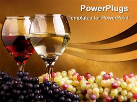 Pair of glass with wine and a bunch of white and black grapes presentation background