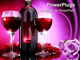 PowerPoint template displaying wine bottle between two glasses, grapes, lavender flowers