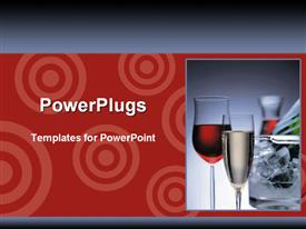 PowerPoint template displaying wine in crystal glasses in the background.